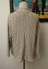 Eileen Fisher Petite Ps Open Cardigan Textured Silk Blend Ivory Grey Chic