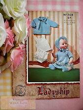 Vintage 50s Knitting Pattern Dolls 6 Piece Floral Motif Clothing Set. 2 Sizes