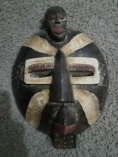 """Ghana African 16"""" Handmade Wood Mask Carved Tribal Wall Wooden Art Hanging Face"""