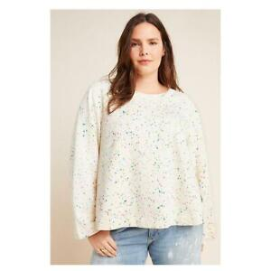 Maeve Anthropologie Jamie Paint-Speckled Sweatshirt Top Pullover 2X PS NW 215974