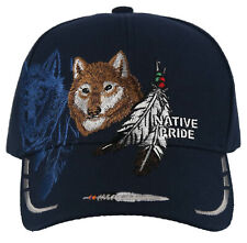 NEW! NATIVE PRIDE WOLF FEATHERS CAP HAT NAVY