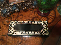 Vintage Jewelry Trinket Box Mother Of Pearl Shell Inlay Carved Black Lacquer Lid