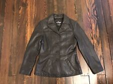 Wilsons Maxima Leather Jacket Coat Lined Black Full Button Women's Size Small