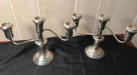 Reed & Barton Sterling Silver A Pair Of 3-Stem Candle Holders
