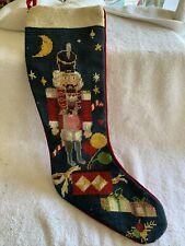 Vintage Needlepoint Nutcracker Christmas Stocking 19�