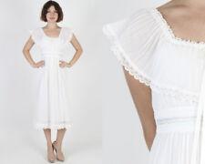 Vintage 70s Gunne Sax Boho Wedding White Pastel Floral Prairie Midi Mini Dress S