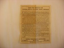 Original Sonora Multi-playing Jewel Phonograph Needles Directions Pamphlet