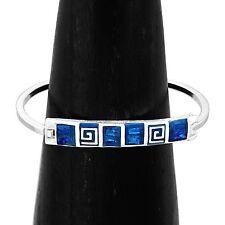 Handmade Blue Opal Silver Mesoamerican Greek Key Bracelet Taxco Mexico