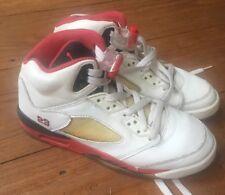 2006 Nike Air Jordan V 5 Retro White Fire Red Black Tongue Size 4Y EU 36 UK 3.5