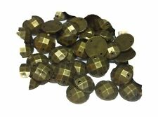 100 12mm Acrylic ROUND DISCO BRASS sew on stitch on, stick on Faceted STUDS Gems