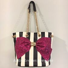 NWT Betsey Johnson Bow-Lesque Drawstring Faux Leather Bucket Bag Purse $108