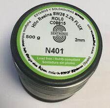 Rollo Estaño Electrónica Sn99,3 Cu0,7 de Ø 2,0 mm 500gr Aleación 401 LIBRE Plomo