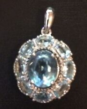 5.90CT SWISS BLUE  TOPAZ OVAL CUT 925 SILVER PENDANT GORGEOUS!