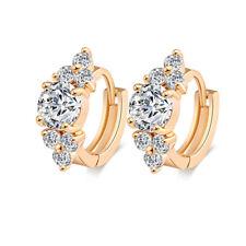 Women Gold Plated Zircon Cluster Huggie Cuff Stud Hoop Wedding Earrings Jewelry