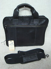 JOHNSTON & MURPHY - Black Pebbled Leather Slim Briefcase Messenger Shoulder Bag