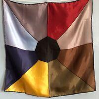 "19"" Vintage Neckerchief Scarf MCM Color Block Jewel Tone Silk Classic"