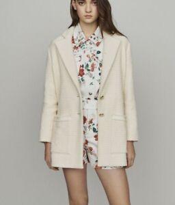 MAJE Sz 38 (US 8-10) Ivory Tweed Jacket NWT $595 Back Belt GUILL Pockets