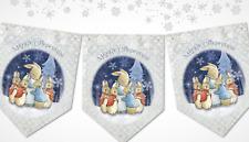Peter Rabbit & Flopsy Bunnies Merry Christmas Snowy Bunting/Banner & Ribbon