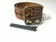 MEN'S BROWN  DOUBLE -PRONG ROLLER BUCKLE WOVEN LEATHER BELT SIZE M
