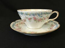Antique Haviland Limoges France Pink Roses Flat Tea Cup & Saucer Ribbon Handle
