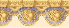 Architectural Golden Tan Crown Molding Fruit Blue Rope Damask Wallpaper Border
