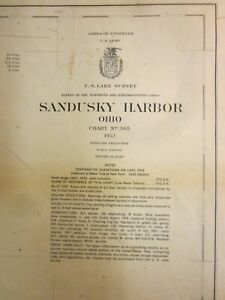 Army Corp Engineers Maritime Survey Chart Map  Sandusky Harbor Ohio 1952  40x30
