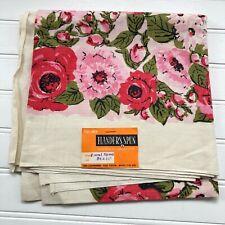 Vintage Belgium Linen Pink Floral Handprinted Tablecloth Flanders Spun 36 x 36