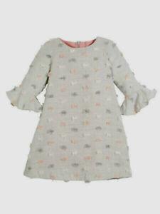 Luli & Me NWT Knit Party Dress Girls 4-12 Gray and Pink Pom Pom Dot