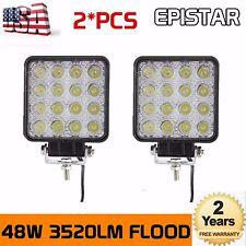 2X 48W LED Work Light Flood Light Off Road RZR Boat Jeep Truck Suv 12V 24V SUP