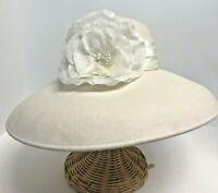 """Miss Bierner Wool Wide Brim Women's Church Hat Ivory 22"""" IC Silk Flower"""
