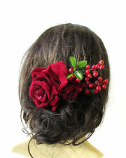 Large Burgundy Red Rose & Berry Flower Hair Comb Headpiece Bridal Vintage 1489