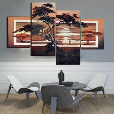 4Pcs Modern Unframed Setting Sun Canvas Abstract Painting Art Wall Home Deco