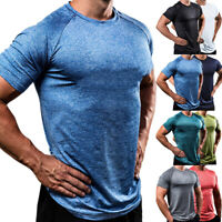 Men's GYM T-Shirt Crossfit Fitness Bodybuilding Muscle Male Short Slim Fit M-3XL