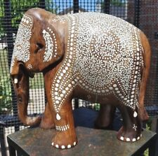 """Antique 12"""" Tall Carved Teak Elephant 13 lbs Sculpture Inlaid Inlay India Statue"""
