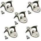 5x Stainless Steel Wall Mount Bar Beer Coke Bottle Cap Opener Kitchen With Scew