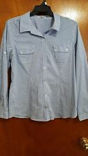 Calvin Klein Women Shirt Size L  Blue White Checkered Button Front Long Sleeve