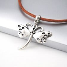 Vintage Silver Alloy Butterfly Pendant Women Girls Brown Leather Surfer Necklace