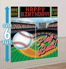 BASEBALL Scene Setter birthday party wall decor kit 6' sports stadium play ball