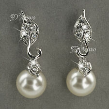 EARRINGS STUD 9K GF 9CT WHITE GOLD MADE WITH SWAROVSKI CRYSTAL PEARL