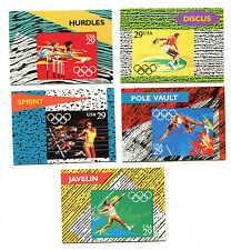 1992 Olympics UNITED STATES POST OFFICE Stamp Stats cards TRACK & FIELD set of 5