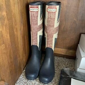 Hunter Brit Union Jack Rain Boots Tall 7M Discontined Rare