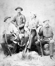 EARLY ANTIQUE REPRINT 8X10 PHOTO 4 MEN WINCHESTER 1873 MARLIN 1881 MARLIN RIFLES