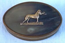French Empire Hunting Dog Pointing Gold Horn Snuff Box Early 19th C