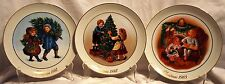 Set of Three Avon Christmas Plates 1981-83 22KT Gold Trim EUC
