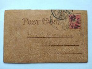 RPO: Detroit & Algonac ca. 1910 Leather Postcard, Steamboat Service