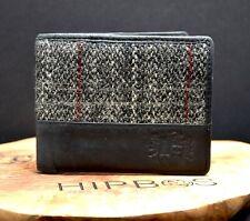 Berneray Harris Tweed Mens Bifold Leather Wallet Black Grey