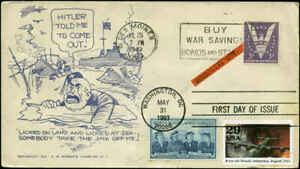 """WW2 Patriotic """"Mussolini Out"""" 7/25/43 on Roberts Cachet & #2765d FDC"""