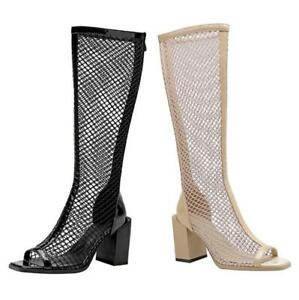 Women's Western Gothic Block Heel Peep Toe Summer Knee High Boots Riding Shoes L