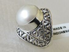 Mabe Pearl  Ring, 925 Sterling Silver, size 7.25