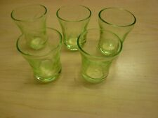 Set of 5 Etched Green Depression Glass Shot Glasses, 2 Etching Patterns